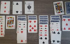 With seven bottom rows and a pile to sort through, solitaire players must organize the deck from ace to king within the rules of the game. Solitaire has become a way for students to pass the time and connect with friends and family.