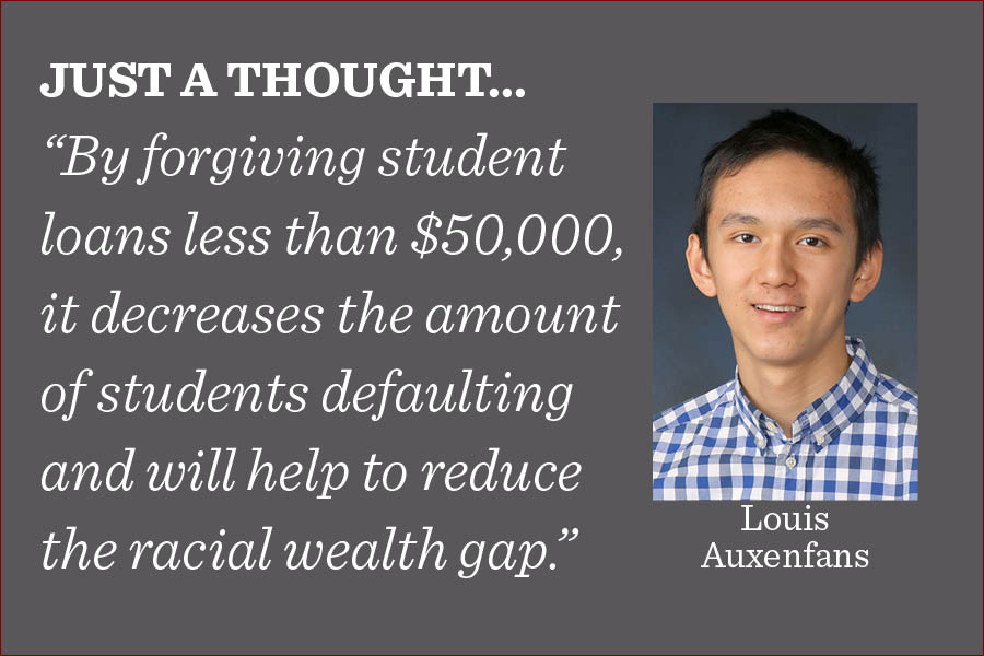 Remaining student loans debt of less than $50,000 should be forgiven by the federal government, writes reporter Louis Auxenfans.