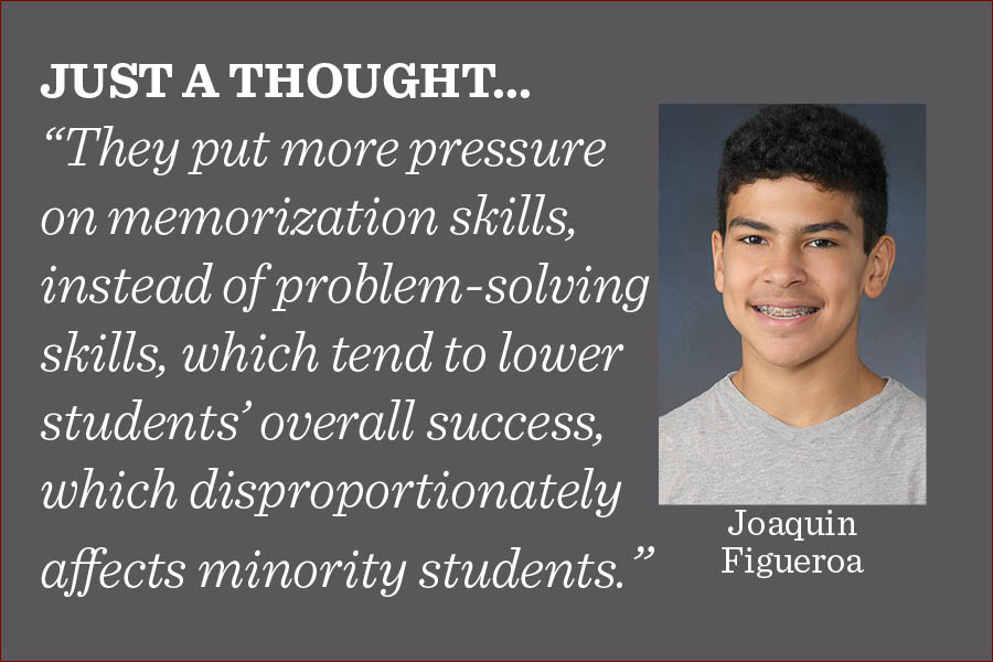 There should not be standardized testing, and instead students should be assessed by other means, writes reporter Joaquin Figueroa.