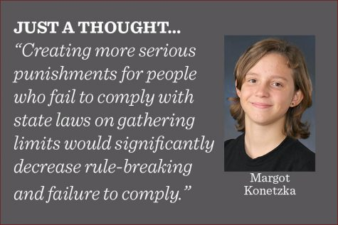 Creating concrete and steadfast rules and laws with actual repercussions pertaining to parties and super-spreader events will deter people from engaging in them, writes reporter Margot Konetzka.