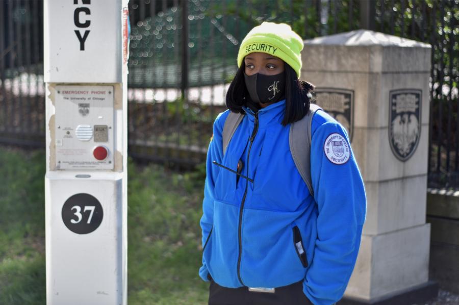 An exterior safety ambassador spending their shift at their post.