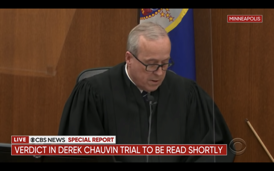 Judge Peter Cahill prepares to read out Derek Chauvin's verdict April 20. In the wake of the verdict, U-High students of color felt mostly relief after a long period of apprehension.