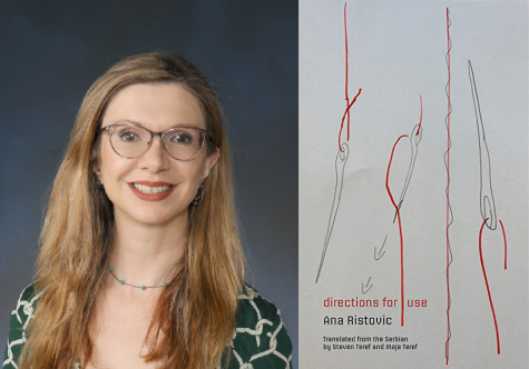 "English teacher and literary translator Maja Teref, pictured alongside ""Directions for Use,"" a published collection of her translations, is working to share her life-long passion for literary translation with Lab students."