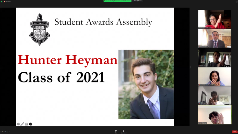 Members of the U-High community gathered on Zoom on May 26 to recognize achievement in service, citizenship, athletics and student organizations at the Student Awards Assembly.