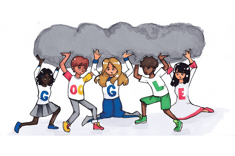 Eva used markers and pens to draw a character holding up a dark cloud with friends coming to help lift it as her submission to the Doodle for Google competition.