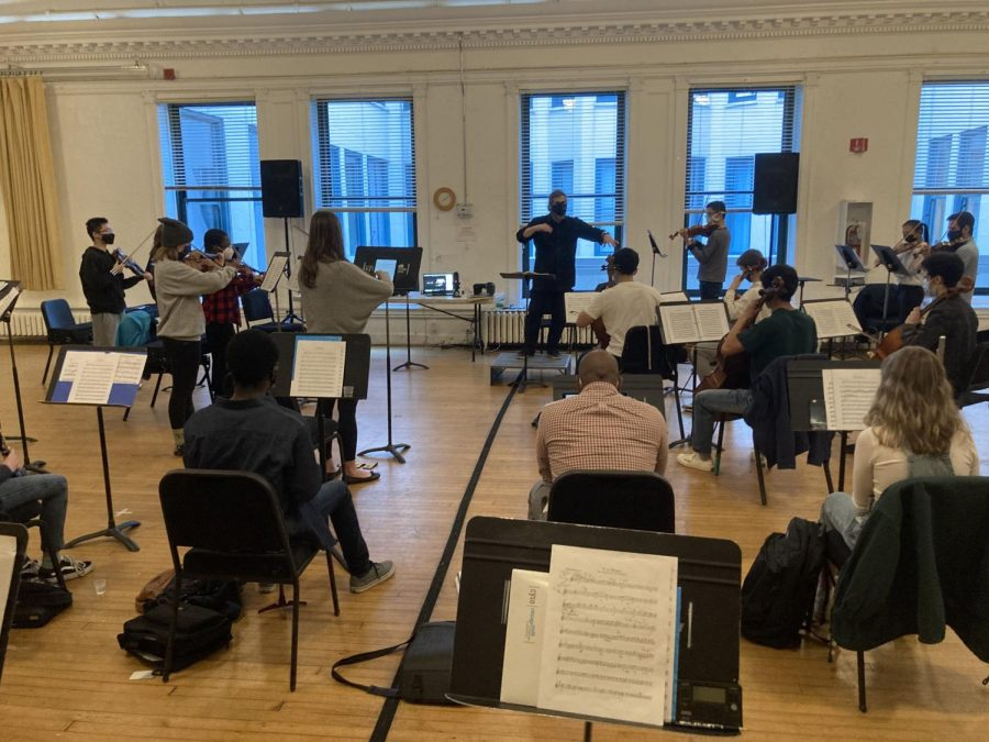 Members of the CYSO rehearse in a pod in order to socially distance. Each pods consist of 18 to 37 masked musicians rehearsing for seventy five minutes at a time.
