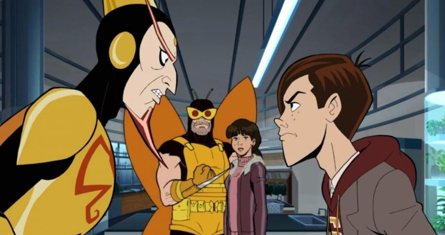 """Characters Dean Venture and the Monarch stare at one another intently in Season 7, Episode 4 of """"The Venture Bros."""""""