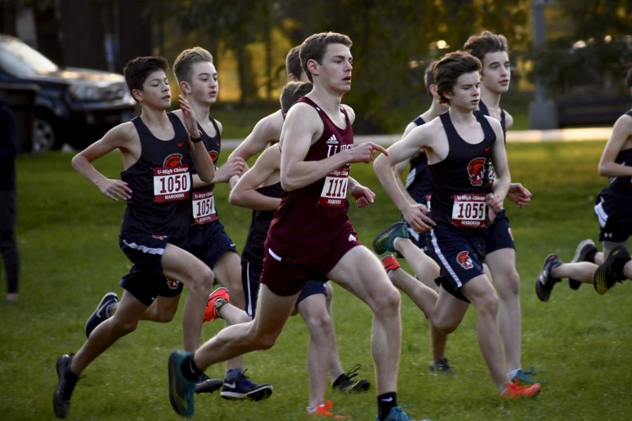 Senior Nicky Edwards-Levin runs at an ISL meet Oct. 17, 2019. On May 8, he broke a school record for 3200 meter race.