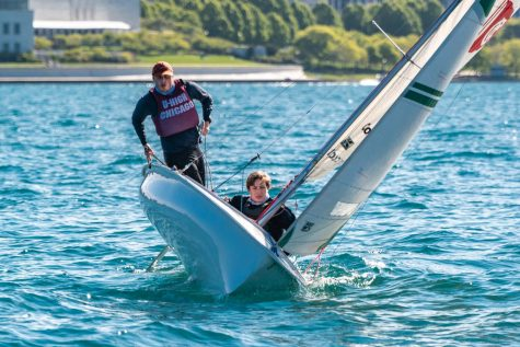 Juniors Benny Wild and Adler Wright sail on Lake Michigan on May 13 in preparation for their next regatta. The sailing team will compete May 15 in Cleveland to qualify for nationals.
