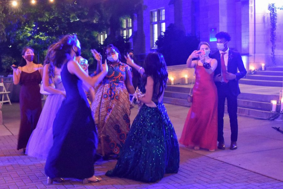 "Dancing in the dark. Students dance to Nicki Minaj's ""Starships"" to conclude the night."