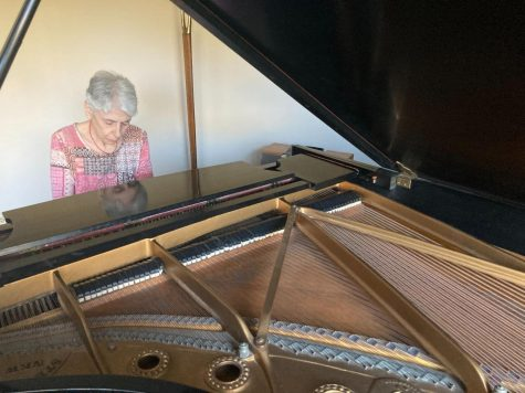 """Pianist Laura Fenster has played for friends, neighbors and the public during the pandemic. She gave open-air performances in her backyard and online concerts through Zoom. """"Theres something thats just electric when its live that I think just doesnt come through with recorded concerts,"""" Ms. Fenster said."""
