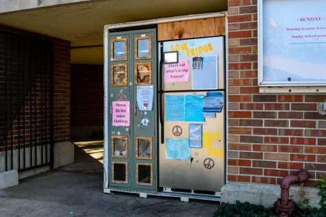 Hyde Parks Love Fridge is located at the Augustana Lutheran Church on 55th and Woodlawn. The fridge is available 24 hours a day, seven days a week for drop-offs and pick-ups.