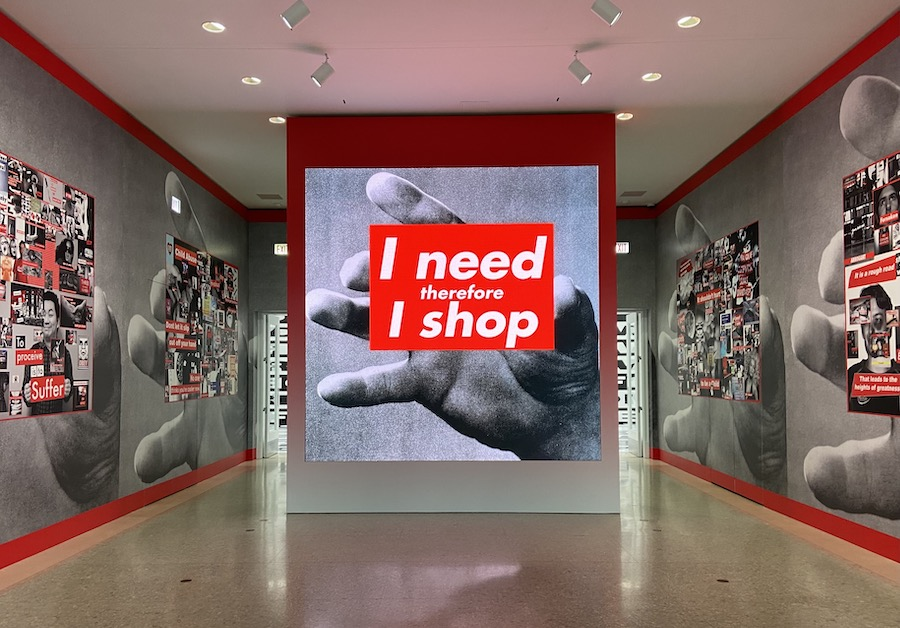 Barbara+Kruger%E2%80%99s+art+exhibit+at+the+Art+Institute+of+Chicago+is+filled+with+oversized+instillations+of+text-heavy+graphics%2C+photography+and+visuals.+Visitors+can+walk+through+the+room+to+observe+the+surrounding+art%2C+composed+primarily+of+contrasting+shades+of+gray+and+red.+