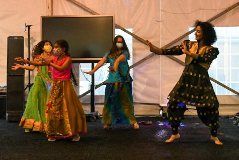 Members of the Laboratory Schools community dance on Oct. 15 to celebrate Diwali.