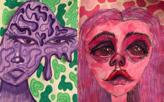 Shown are two of Emmanuelle Bals artworks, as seen on her Instagram art account @optic.arts. She uses  media such as markers, acrylic paint, watercolors, and charcoal to convey her emotions.